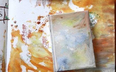 pouring acrylique en art journal