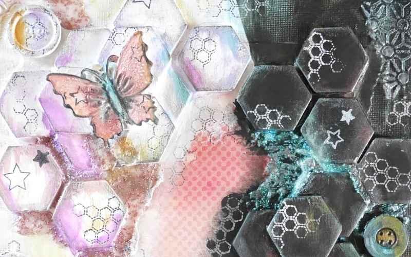 Atelier en ligne pour la création d'objet avec des techniques de mixed media.